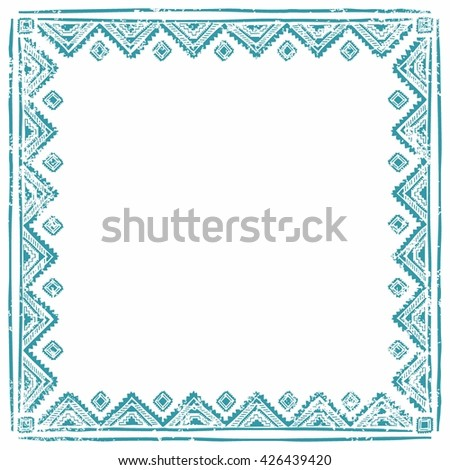 Square ethnic frame. Empty space for your text. Vintage poster. Blue geometric elements on a white background. Vector illustration. - stock vector