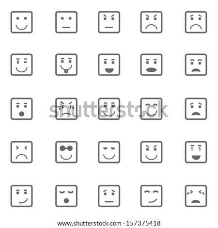 Square face icons on white background, stock vector - stock vector