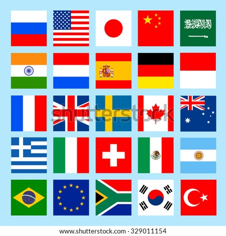 square flags icons in flat style. Simple vector flags of the countries. The Group of Twenty. Group of Seven. Vector illustration. - stock vector