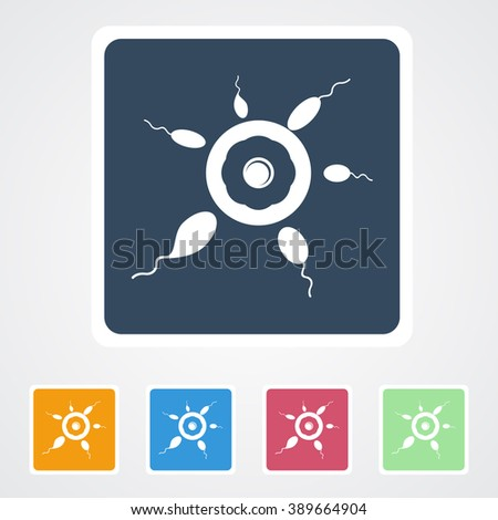 Square flat buttons icon of Egg & Sperms. Eps-10. - stock vector