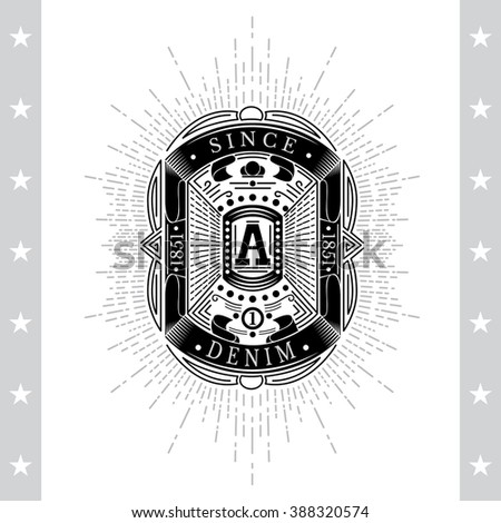 Square Frame From Ribbons And Capital Letter A In Center. Sea Vintage Black Label Isolated On White - stock vector