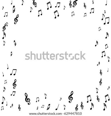 square frame of music notes treble and bass clefs black musical symbols on white background - Music Note Picture Frame