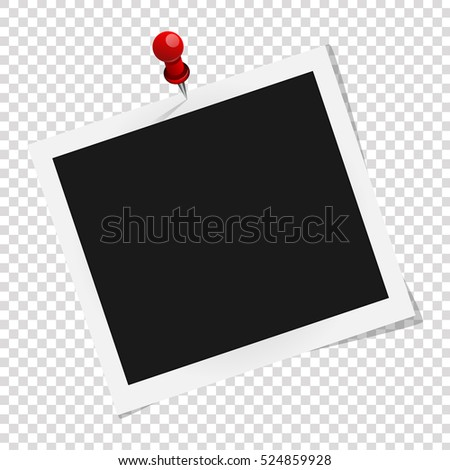 Square frame template on red pin with shadows isolated on transparent background. Vector illustration