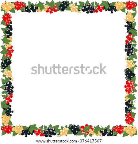 square frame with currants in clusters on a transparent background