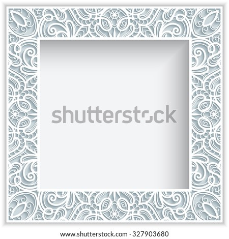 Square Frame Cutout Paper Lace Border Vector 327903680 – Border Paper Template
