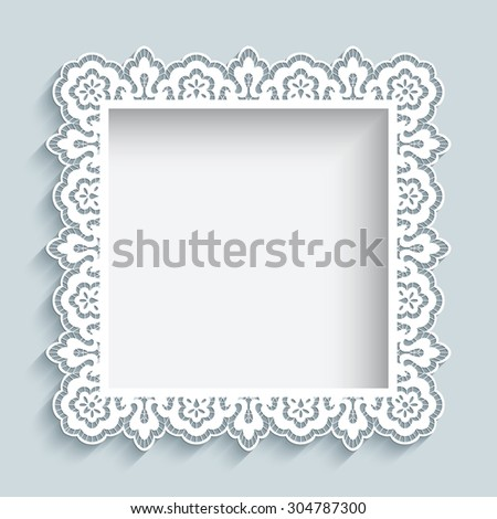 Square frame cutout paper lace border stock vector royalty free square frame with cutout paper lace border ornament vector background greeting card or wedding maxwellsz