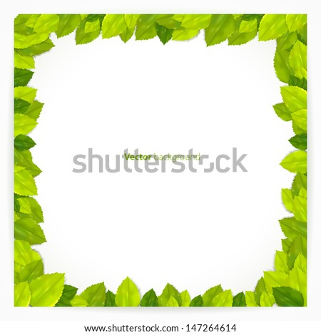 Square frame with green leaves. Vector illustration. - stock vector