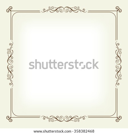 Square frame with swirls and leaves, background. Page decoration. Invitation.