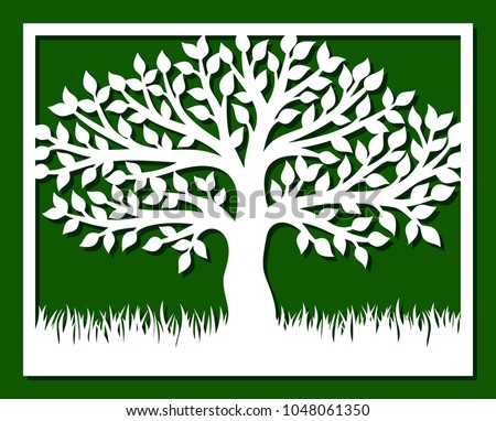 Square Frame Tree Grass Template Laser Stock Vector 1048061350 ...