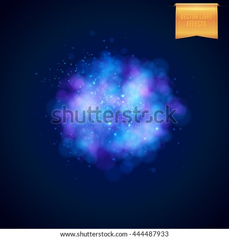 Square full frame cloudy blue blast effect with sparkling lights or stars as explosion background