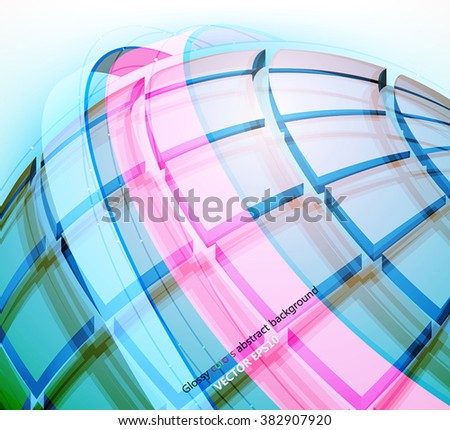 Square geometric,translucent colors vector abstract background - stock vector