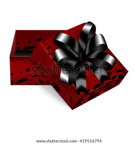 Square gift box red marbled with black bow trim, a great addition to expensive gifts or jewellery. Gift Box Stock Vector. Gift Box Vector Art - stock vector