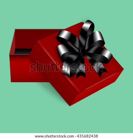 Square gift box with a stylish red and black bow trim, a great addition to expensive gifts or jewellery.  - stock vector