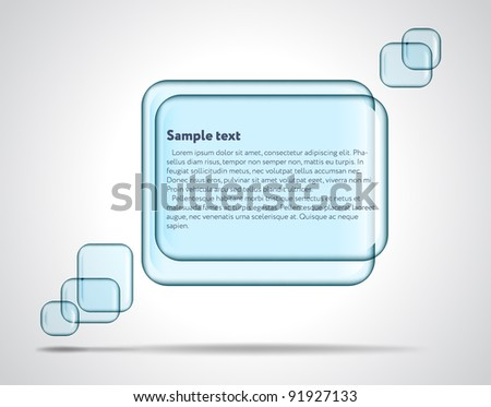 Square glass plates for text - stock vector