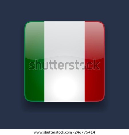 Square glossy high quality icon with national flag of Italy on dark blue background - stock vector