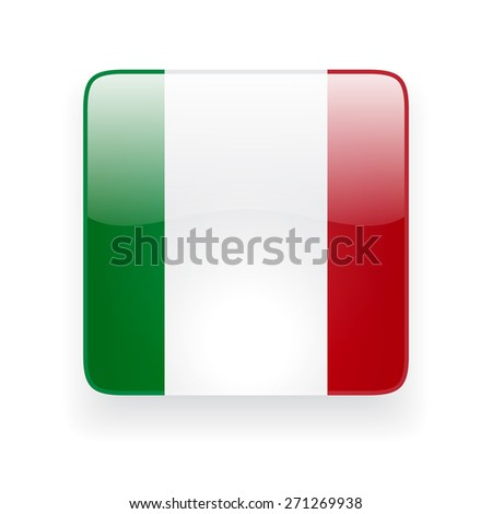 Square glossy icon with national flag of Italy on white background - stock vector