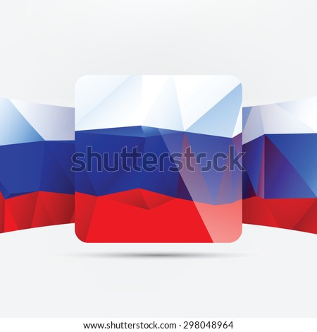 Square glossy icon with national flag of Russia on white background - stock vector