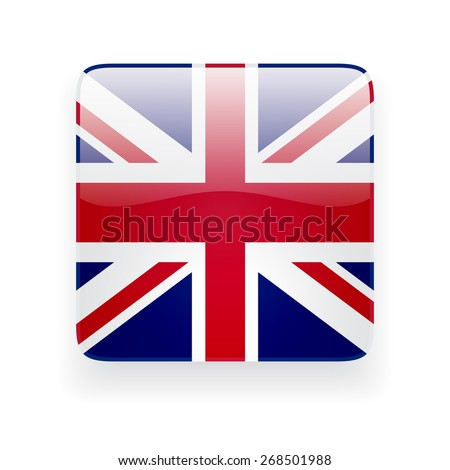 Square glossy icon with national flag of the UK on white background - stock vector