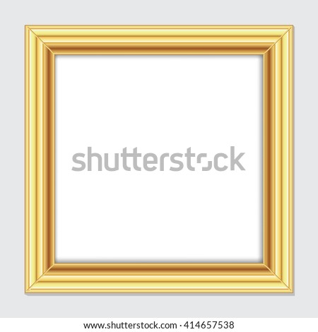 Square gold frame for pictures and images