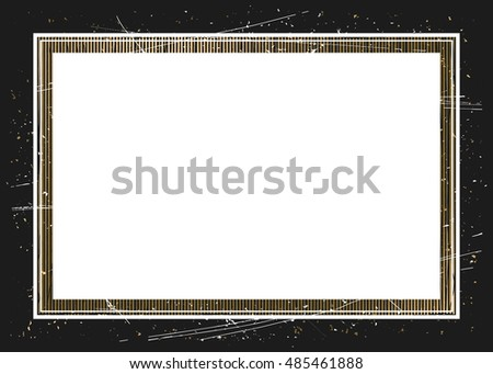 Square grunge background with golden frame