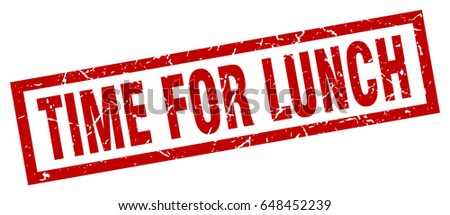 Square Grunge Red Time Lunch Stamp Stock Vector 648452239