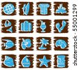 Square grungy tropical buttons in cool tones (eps10); jpg version also available - stock vector