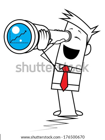 Square Guy - looking to charts - stock vector