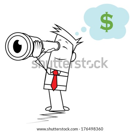 Square Guy - Looking to Money - stock vector