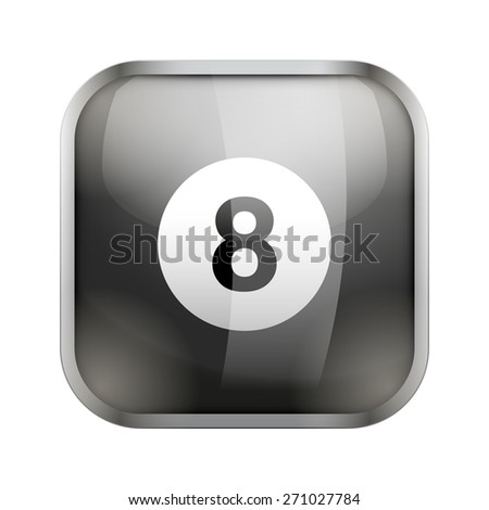 Square icon for billiard sports application or games. Illustration of sporting field and play button.  - stock vector