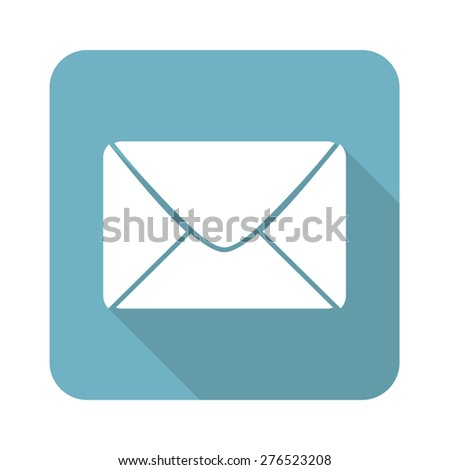 Square icon with image of envelope, isolated on white - stock vector