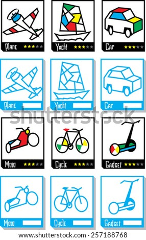 square icons of transportation simple design - stock vector