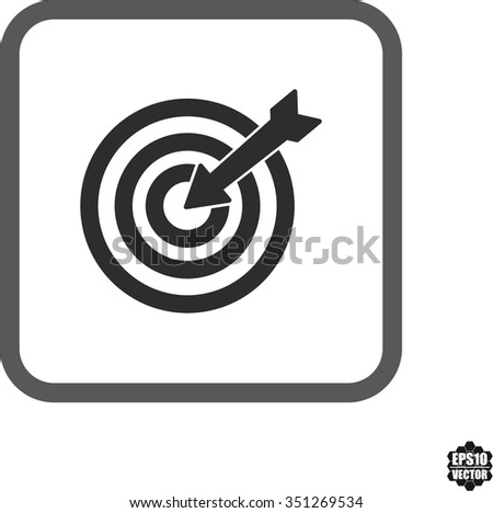 Square icons  target with arrow flat icon for apps and websites. Vector illustration - stock vector