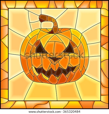 Square illustration of Halloween pumpkins as stained glass window with frame (orange tone). - stock vector
