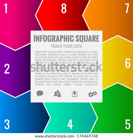 Square Infographics template with place for text and icons