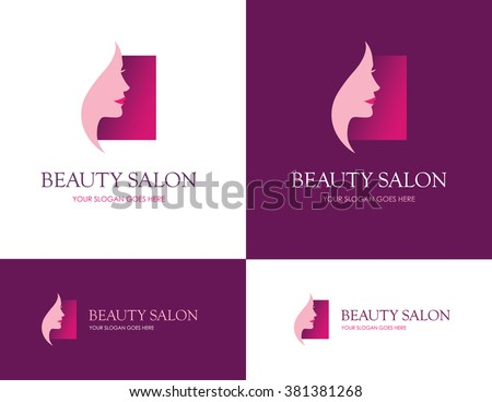 Square logo for beauty salon, face and skin care product, cosmetics, makeup or spa center with beautiful woman profile - stock vector