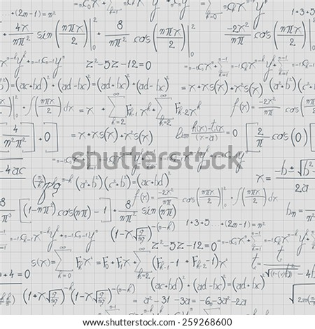 Square mathematical  paper with equation and formula. Seamless pattern design - stock vector