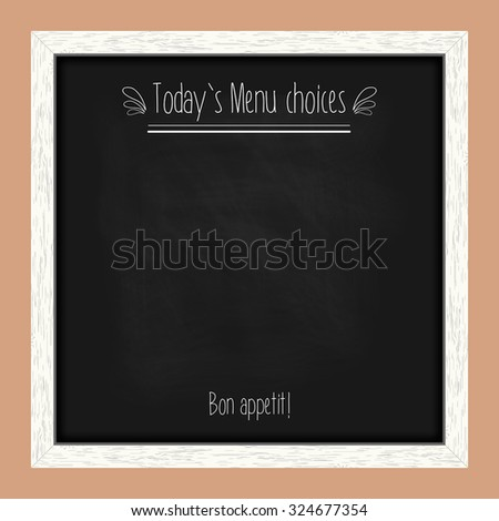 Square menu chalkboard for cafes and restaurants with an inscription. Realistic wooden frame. Vector illustration - stock vector