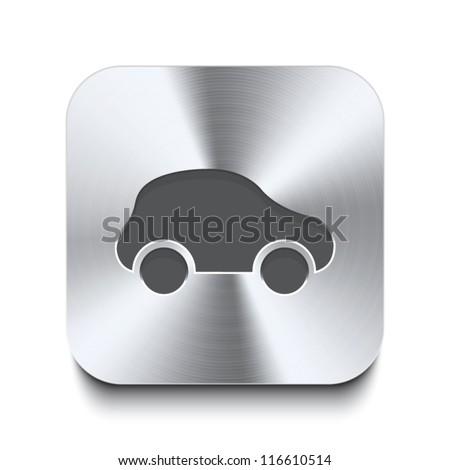 Square metal button - icon of car - stock vector