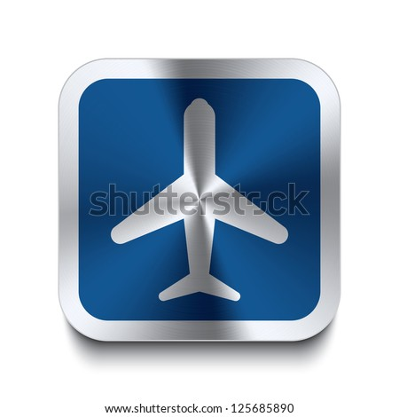 Square metal button with airplane icon print on top of it. Part of a collection of blue metal buttons. - stock vector