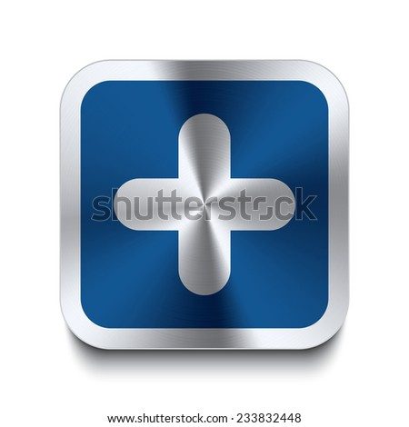 Square metal button with plus icon print on top. Part of a blue metal buttons set. - stock vector