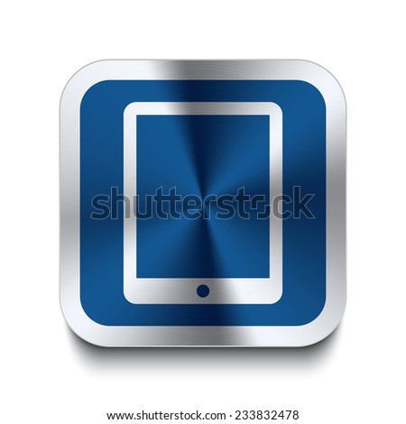 Square metal button with tablet icon print on top. Part of a blue metal buttons set. - stock vector