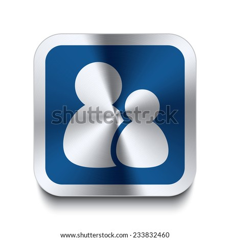 Square metal button with users icon print on top. Part of a (color) metal buttons set. - stock vector