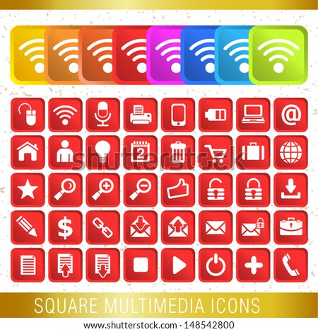 SQUARE MULTIMEDIA ICONS / Set of icons  - stock vector