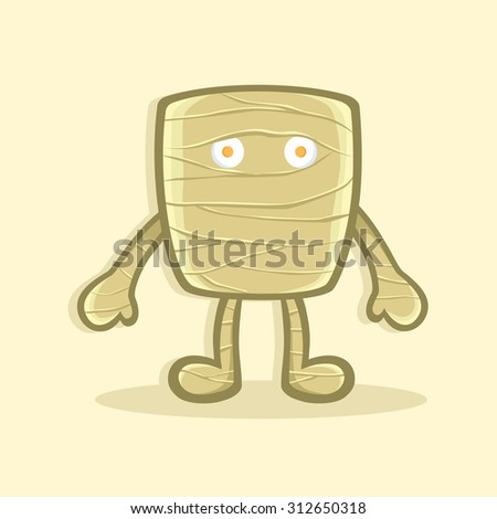 square mummy halloween costume illustration halloween