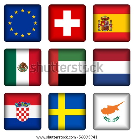 Square national flags set on a white background. Vector illustration. - stock vector