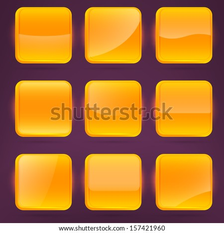 Square orange application buttons or app banners with rounded corners and different gloss reflection effect over, eps10 vector - stock vector