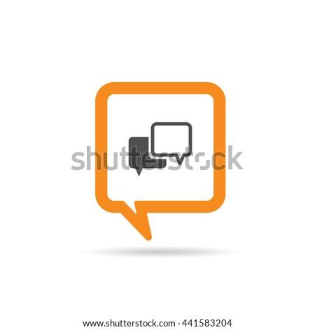 square orange speech bubble cartoon icon illustration on white - stock vector