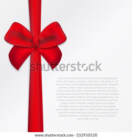 Square paper card with tied red bow and place for text.