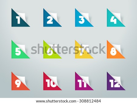 Square Paper Cut Out Notes With Numbers For Calendar 1 to 12 b  - stock vector