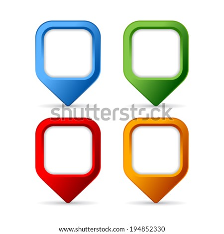 Square pin buttons - stock vector